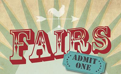 "graphic with word ""Fairs"" and admission ticket"